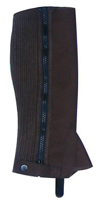 Equestrian Suede Amara Washable Half Horse Riding Chaps Brown Gaiters Xs