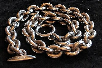 Vtg Heavy Hans Hansen Sterling Silver Cable Chain Link Collar Choker Necklace