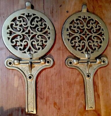 Hard To Find Pair Of Antique Cast Iron Wood Stove Warming Shelves W/ Brackets