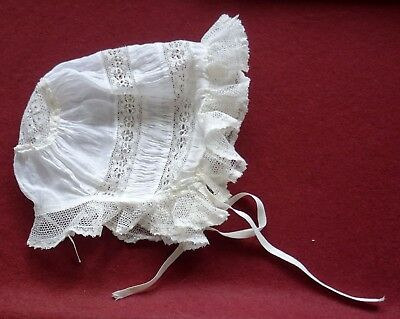 Antique Handmade Baby's Bonnet - Lace and Voile