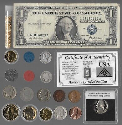 Silver Dollar Barber Mercury Indian War Nickel Rare 20 US Coin Collection Gold P