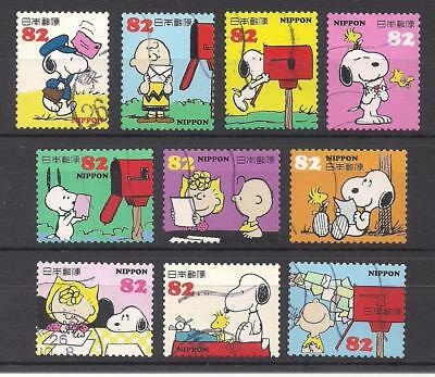 Set Of 10 Snoopy, Charlie Brown & The Peanuts Gang Postage Stamps