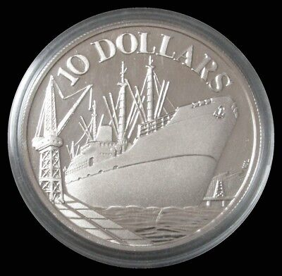 1975 Silver Singapore Proof $10 Independence Anniversary 31.1 Grams Coin