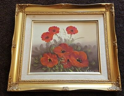 Beautiful Vintage Floral Gilt Framed Oil Painting On Canvas. Poppies By J Palmer