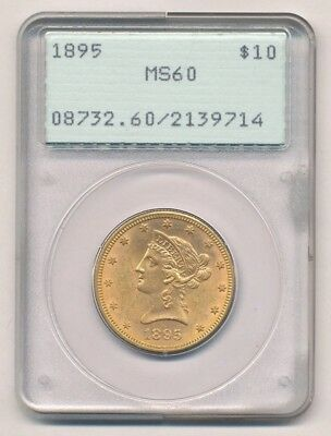Type 1 Original Vintage 1895 Old Green Holder $10 Liberty Head Gold PCGS MS 60