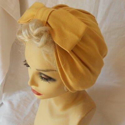 VINTAGE INSPIRED 1940's 1950's STYLE  MUSTARD YELLOW TURBAN HAT WW2 LINDYHOP