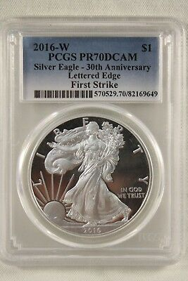 2016 W PCGS PR70DCAM Silver Eagle 30th Anniversary Lettered Edge First Strike