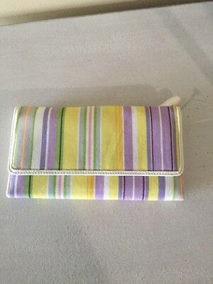 Longaberger Yellow Purple Stripe Fabric Large Wallet with checkbook holder