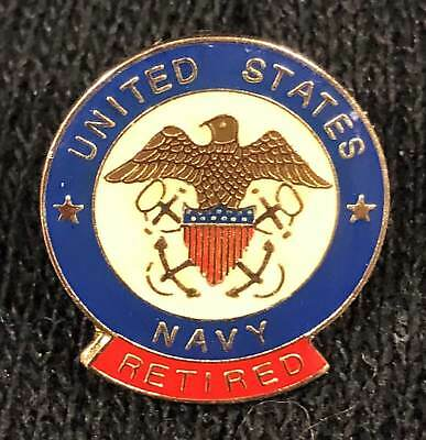 US NAVY RETIRED Small Round Anodized Hat/Lapel Pin - $6 81 | PicClick