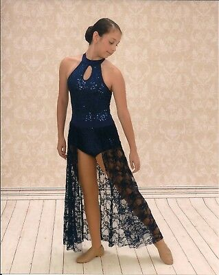 Weissman blue sequin and lace dance costume in adult small