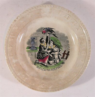 1850s SOFT PASTE STAFFORDSHIRE CHILDRENS ABC PLATE - DOG AND PARROT PET SUBJECT