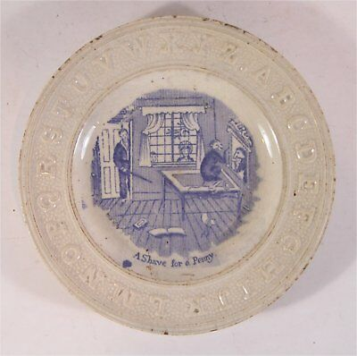 1850s SOFT PASTE STAFFORDSHIRE CHILDRENS ABC PLATE - MONKEY SHAVING BARBER SHOP
