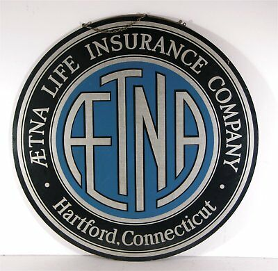1920s AETNA INSURANCE COMPANY DOUBLE SIDED LARGE HANGING ADVERTISING SIGN