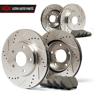 2011 2012 Cadillac CTS (See Desc.) (Slotted Drilled) Rotors Ceramic Pads F+R