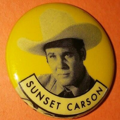 Sunset Carson Western Vintage 1950S Republic Pictures Pin Button Rare C