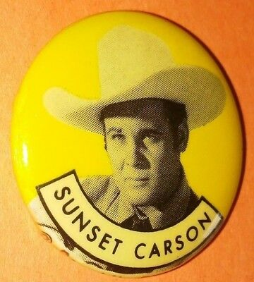 Sunset Carson Western Vintage 1950S Republic Pictures Pin Button Rare D