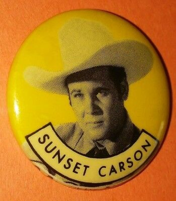 Sunset Carson Western Vintage 1950S Republic Pictures Pin Button Rare E