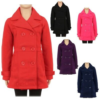 Girls Double Breasted Pea Coat Dress Jacket Winter Fall Kids Holiday Sizes 6-12