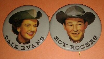 Roy Rogers & Dale Evans Western 2Pc Pin Button Set Vintage Rare Original