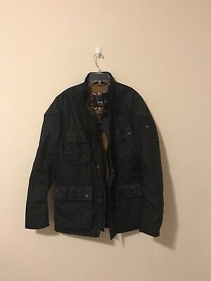 Barbour International Waxed Cotton Moto Jacket  Large