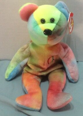 1 Ty Beanie Baby Babies 1996 PEACE Bear New bean baby sign multi colored Tye Dye
