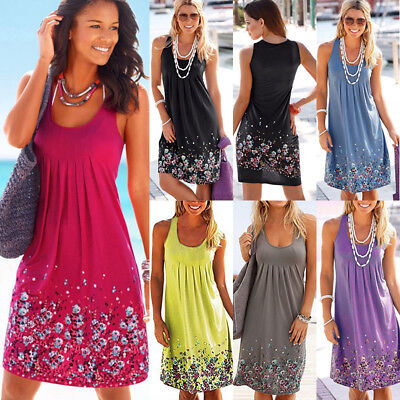 Womens Boho Floral Sleeveless Ladies Summer Holiday Beach Loose Midi Long Dress