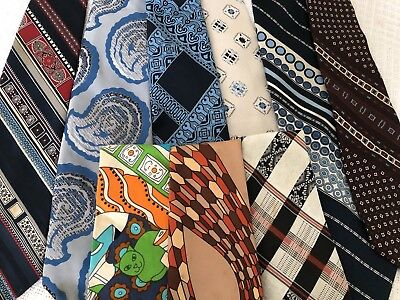 "Vintage Lot 70s 80s Wide Neckties Polyester Tie Hippy Mod Rockabilly Fat 4"" Ties"