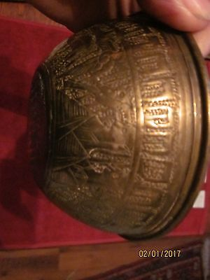 a nice Antique Islamic or Kashmiri Etched Brass Finger Bowl, animals all around