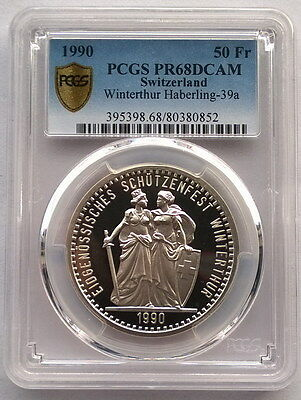 Switzerland 1990 Shooting Festival Winterthur PCGS PR68 50 Fr Silver Coin(0852)