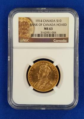 "1914-Canada Gold $10 ""bank Of Canada Hoard"" Ngc Ms63          L2517"