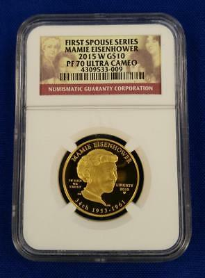 "2015-W US 1/2oz GOLD $10 First Spouse ""MAMIE EISENHOWER"" NGC PF70UC L2551"