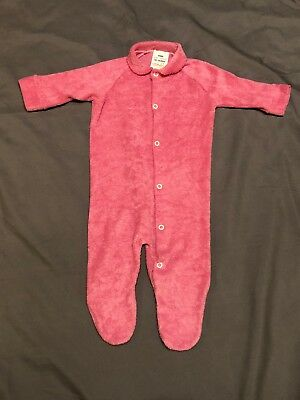 Vtg Baby Sleeper Outfit Sz Medium Tommee Tippee Girls Raspberry Pink Terry Cloth