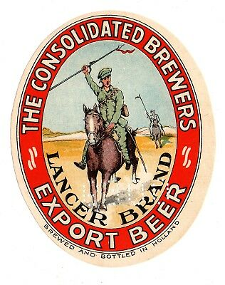 1900s CONSOLIDATED BREWERS, AMSTERDAM, HOLLAND LANCER BRAND HORSE BEER LABEL