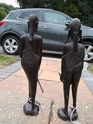 African Hand Carved Solid Wood  Statue pair