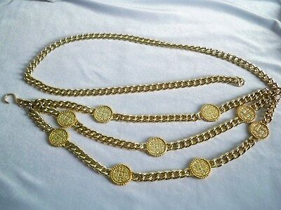 Heavy Vintage Gold Tone Faux Coin Swag Belt