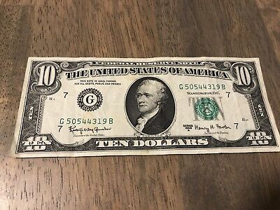 1963 A Series US $10 Bill Vintage Old American Currency Ten Dollar Note Chicago