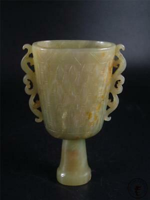 Antique Old Chinese Celadon Nephrite Jade Carved Wine Cup Statue DELICATE STYLE