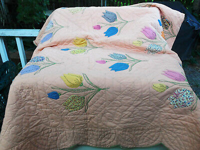 """Vintage QUILT  """"Appliqued Tulips"""" 1930's Fabrics Hand Quilted Accent Embroidery"""