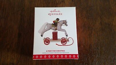 Hallmark 2017 A Pony for Christmas horse jumping pull toy 20th Series Ornament