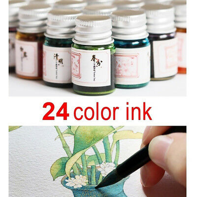 24 Colors Calligraphy Writing Painting Fountain Pen Ink with Glitter Powder New