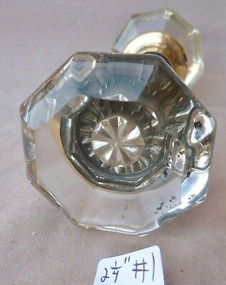 Glass Door Knobs PAIR SET Antique 8 point glass HAVE MANY! (flat face) (PER SET)