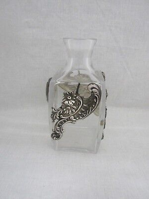 Vintage Atlantis Crystal Glass Decanter With Sterling Silver Flowers