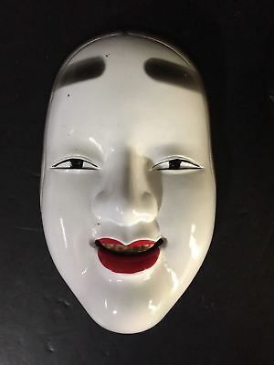 Japanese Traditional Noh Mask Kabuki Ko-Omote Woman Wall Decor Cast Iron Geisha