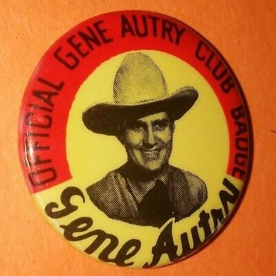 Gene Autry Western Club Badge Pin Button Vintage Rare Original 50's 60's C