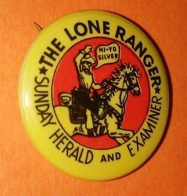The Lone Ranger Sunday Herald And Examiner Western Button Pin Vintage Rare F