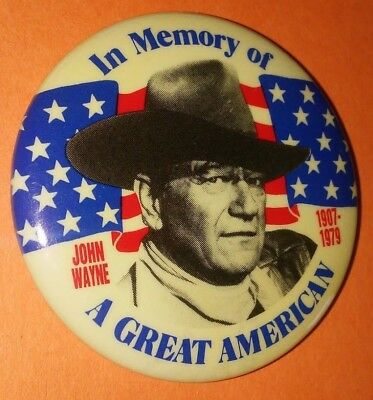 John Wayne In Memory Of A Great American Badge Button Pin Vintage Rare 1980's C