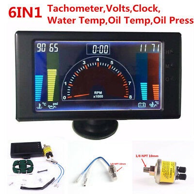 6in1 Multi-function Car Tachometer,RPM,Volt,Clock,Water/Oil Temp,Oil Press Gauge