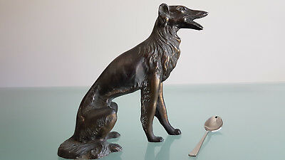 ANTIQUE BORZOI DOG,LARGE 1.5kg SPELTER FIGURE. IN DAMAGED CONDITION. LOOK !