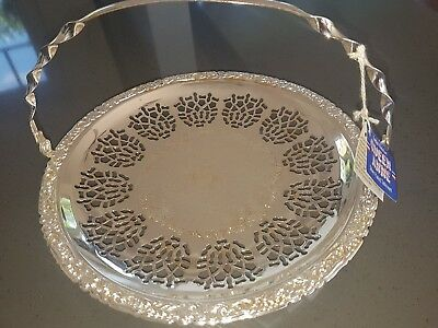 Queen Anne silver plated round serving tray