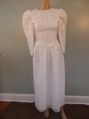Vintage 1980s Victorian Insp. Handmade Heavy Lace Straight Skirt Wedding Gown~XS